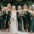 Sheath Cowl Neck Spaghetti Straps Dark Green Satin Bridesmaid Dresses with Split