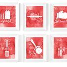 Red kitchen | Etsy