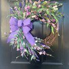 Spring Wreath for Front Door, Lavender Wreath, Spring Wreath, Everyday Wreath, Year Round Wreath, All Season Wreath, Housewarming Gift,