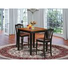 Rosalind Wheeler Dartmouth 3   Piece Counter Height Rubberwood Solid Wood Dining Set Wood/Upholstered Chairs in Brown   Wayfair