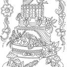 Cake  Printable Adult Coloring Page from Favoreads Coloring   Etsy