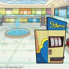 A Woman Playing In A Slot Machine and The Inside Of A Shopping Mall Background