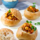 South African Bunny Chow - my vegetarian version with Chickpeas
