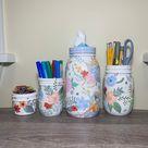 Summer Flowers Mason Jar Desk Set, Decoupage Jar,Office Desk Organizer,Desk Office Decor,Office Desk Accessories, Office Supplies