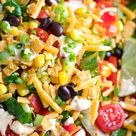 Black Bean Taco Salad with Creamy Salsa Dressing - Peas and Crayons