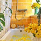 Springtime yellow bathroom makeover
