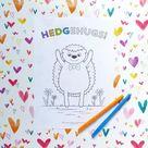 Hedgehugs printable colouring sheet hedgehog digital download | Etsy