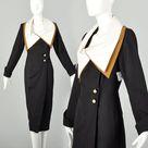 Medium Wrap Dress 1980s Avant Garde Color Block Huge Portrait Collar