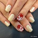 Christmas nail art gold glitter fashion