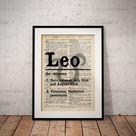 Leo Definition Prints - Horoscope Definition Print - Zodiac Dictionary Definitions