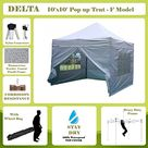 Delta 10'x10' Pop up 4 Wall Canopy Party Tent Gazebo Ez White - F Model Upgraded Frame Canopies