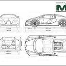 Bugatti Veyron Grand Sport 2009   2D drawing blueprints   30259   Model COPY   English