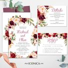 Wedding Invitation Floral Fall Red and Pink Invitation Burgundy Floral Invitation Printed Cards or Electronic Invite {Brigitte Collection} - 25 Ice Pearl Shimmer