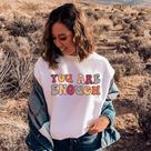 You Are Enough Sweatshirt, Retro Mental Health Awareness Sweater, Vintage Positive Vibe Sweater, Sel