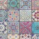Fliesen Tapete Mosaik Optik mit buntem Design