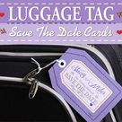 Luggage tag save the date themed cards for your destination wedding or tropical wedding overseas & 100% customizable