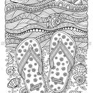 Farbbuch für Erwachsene. Meeresstrand. Hausschuhe, Sand Stock-Vektorgrafik (Lizenzfrei) 441230497
