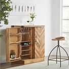 Illusions Modern Handmade Solid Wood Bar Cabinet Walnut, Brown