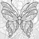 Butterfly with flowered background   1 - Butterflies & insects Coloring Pages for Adults - Just Color