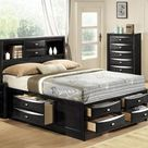 Emily Collection EM1501-K King Size Storage Bed with Bookshelf  2 Drawers in Headboard  4 Drawers