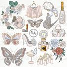 Butterfly Fashion Girl Clip Art Watercolor Clipart Bridal Shower Flowers Photo Girly Vintage Accessories Hand Drawn Planner Sticker Graphics
