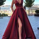 2021 New Designer V neck A line Prom Dresses   Burgundy / US12