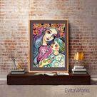 Mother child illustration, folk art, maternity art, mothers love, nursery painting, mother gift, mother son, feminine decor print