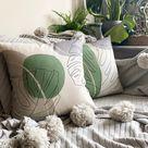 Tropical Leaves Cushion Cover, Palm Leaf Pillow Case, Garden Pillow, Organic Cotton, 18x18 Cushion, Pillow Shams, Throw Pillow, UK Seller