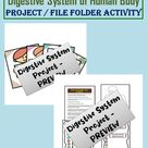 Human Digestive System Project in File Folder Type Activity | Body System Parts & Functions Project