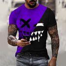 Color Block Devil Smiley Print Short Sleeve T-shirt