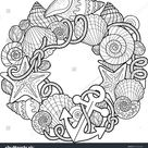Round Frame Made Shells Coloring Pages stockvector (rechtenvrij) 399403006