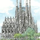 Barcelona Sagrada Familia art print from an original watercolor painting