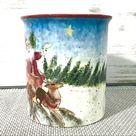 Susan Winget Christmas Santa Sleigh Cup Mug