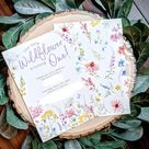 Wildflower Party PRINTED Invite - Yellow - Birthday Party Invitation