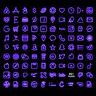 Purple NEON iOS Icon Pack, Aesthetic iPhone iOS 14, Realistic Neon Light Custom Icons,  Home Screen Theme for Shortcuts, (90 icon bundle)
