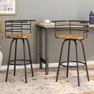 Jasmine Industrial Modern 29 Swivel Barstool with Rubberwood Seat (Set of 2) - Dark Brown