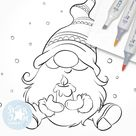 Christmas Gnome with a Candle. Digi Stamp, Nordic, Scandinavian, Coloring Page, Digital Art, Xmas, Holiday, North, Winter, snow, beard, 055