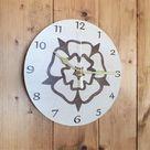 Yorkshire Rose Wall Clock, Rose Clock, Flower Clock, Yorkshire Rose, Rustic Clock, Wooden Clock, Yor