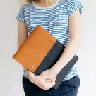 Case for iPad Pro 12.9'', leather, wool felt, tan, chestnut, black, COURIER, handcrafted by band&roll in Berlin, Germany