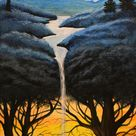 original surreal painted canvas, wall hanging with blue tree and orange sunset, ,10x20 surrealist art, fantasy art canvas by David Judd