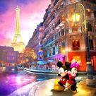 5D Diamond Painting Mickey Street Corner in Paris with Minnie Kit
