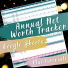 Annual Net Worth Spreadsheet Tracker   Customizable, year at a glance with tutorial