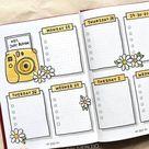 yellow bullet journal spread idea