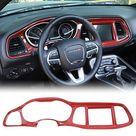 JeCar Center Console Dashboard Panel Trim Interior Decoration Accessories for Dodge Challenger 2015-2019 - Red carbon fiber