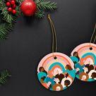 Feminist Diversity Rainbow Ornament, Girl Power Ornament, Feminist Christmas Decor, Multicultural Christmas Ornament