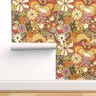 Retro Wallpaper  Groovy Mushroom Garden by   Etsy