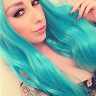 Long Turquoise Synthetic Lace Front Wig