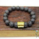 Men Volcano Lava Bracelet Men Lava Healing Men Chakra Bracelet Men Lava Yoga Meditation Smoky Quartz   8.5