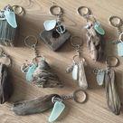 Driftwood Sea Glass KeyRing Handmade from Isle of Wight Beaches Natuical Gift Idea Beach Love Key Chain Fob Wedding Favors