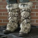 Viking Fur Leggings / Boot Covers Leg Warmers Pair  | Etsy